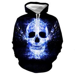 2019 vestido de esqueleto azul 2019 Chama Azul Esqueleto Humano Número Impressão Mesmo Chapéu Camisola de Manga Longa Fácil Lazer Tempo Vestido Mulher vestido de esqueleto azul barato