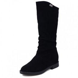 Moda para mujer con descuento online-Moda para mujer para mujer Suede Flat Slouch Mid Calf Lace Casual Boots Shoes Ladies Casual Calzado Descuento grande