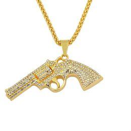 Подвеска без алмаза онлайн-хип-хоп пистолет пистолет алмазы кулон ожерелья для мужчин западные роскошные ожерелье сплава стразы кубинские цепи ювелирные изделия бесплатная доставка