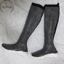Rodilla zapatillas altas mujeres online-Mujer Blingbling Cristal Muslo Zapatillas altas Botas Mujeres Tejer Calcetines Piedras de Strass Botas largas Mujer Primavera sobre la rodilla