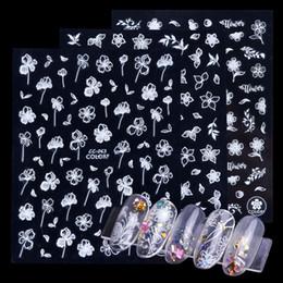 chiodi della farfalla 3d Sconti 1 foglio floreale 3D adesivi per unghie artistiche decorazioni farfalla bianca vuota fiori cursore su unghie punta adesiva manicure LACC055-063