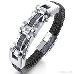 pulseras de alambre de cuero Rebajas Nueva moda para hombre trenzado de cuero negro pulsera de acero inoxidable pesado Biker alambre brazalete pulseras brazaletes JBN0050