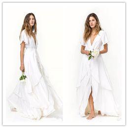 d2f383561823c plus size layered chiffon dress Coupons - Slits Skirts Romantic Beach  bohemian Wedding Dresses Cheap Short