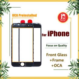 iphone 6s oca Promotion Écran tactile avant Lentille en verre extérieure + Cadre central à cadre froid pour presse à froid + OCA installé pour iPhone 5s 5c 6 6s 7 8 plus