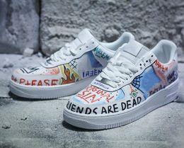 Grafiti personalizado online-Buena calidad Force Low One Graffiti, blanco, multicolor, zapatos de skate de diseño personalizados, obligando a unos, colaboración, zapatillas Pauly con caja
