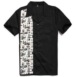 Рокабилли рубашка онлайн-London Bridge Printed Men Clothes Black Rockabilly Cotton Vintage Punk Style Fitness Short-sleeved Men shirt