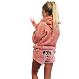 Kadın Pijama Setleri 2019 Sonbahar kış Flanel Karikatür Sıcak Pijama Kadın Ev Tekstili Hayvan Pijama Kedi kadın pijama nereden kanguru hoodie tedarikçiler