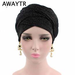 2019 черный головной платок чалмы Банданы Awaytr блестящий тюрбан мусульманская повязка на голову для женщин мода шарф с запахом головы женские аксессуары для волос черный цвет повязки на голову J190507 скидка черный головной платок чалмы