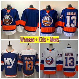 Camisa dos meninos 13 on-line-2018 Mulheres New York Islanders 13 Mathew Camisolas de Hóquei Barzal Barato Casa Azul Em Branco Das Senhoras Das Mulheres Dos Miúdos Mens Meninos Camisas Costuradas