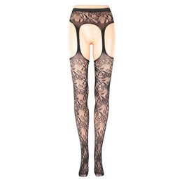 bd3440e59 Lady Girl Pantyhose Lingerie Hot Sexy Female Lingerie Net Lace Top Garter  Belt Thigh Tight Stocking Pantyhose Black Color
