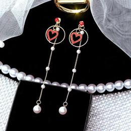 2019 dames ornements de perles Tempérament de la mode européenne et nouvelle bague à ongles longue oreille amour dame perle boucles d'oreilles oreille ornements dames ornements de perles pas cher