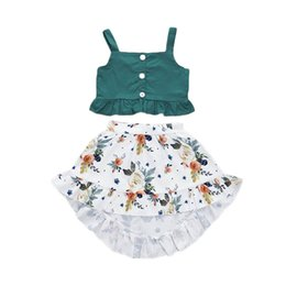 square baby Promo Codes - Kids Girl Two-piece Suit Baby Flower Skirt Suit Lotus Leaf Edge Elastic Waist Skirt Kids Girl Solid Button Vest