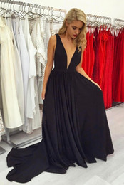 Sexy Black Deep V Neck Prom Dresses Long 2019 Vestidos De Fiesta Largos Elegantes De Gala Cheap Formal Imported Party Dress