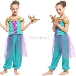 2019 criança lâmpada de desenho animado Crianças roupas de grife meninas Aladdin Lâmpada Jasmim Princesa roupas crianças Halloween Traje Cosplay dos desenhos animados Crianças Conjuntos de Roupas C6816 desconto criança lâmpada de desenho animado