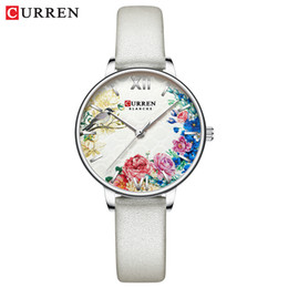 2020 curren fashion watch CURREN White Leather Watch for Women Watches Fashion Flower Quartz Wristwatch Female Clock Reloj Mujer Charms Ladies Gift günstig curren fashion watch