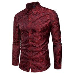 2019 camisa de vestir de manga larga de camuflaje Camo Seda Camisa Satinada Vino Rojo Camuflaje Hombres Slim Fit Camisas de Vestir de Manga Larga Para Hombre Casual Fiesta Social Club Chemise Homme Xxxl camisa de vestir de manga larga de camuflaje baratos