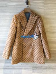 2019 giacca a doppia petto Donne di fascia alta ragazze Marchio a maniche lunghe doppio petto con scollo a V con ricamo animalier giacca a doppia petto economici