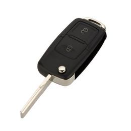 Chiave della lama automatica online-2 pulsanti di vibrazione a distanza pieghevole auto chiave shell di ricambio copertura della cassa chiave dell'automobile per VW Volkswagen Golf MK4 Bora lama non tagliata KeylessFree libero