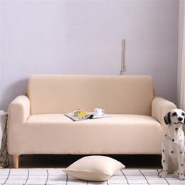 Muebles europeos de lujo online-cubierta de sofá de lujo de color beige elástica para sala de estar cubierta de color sólido esquina estilo europeo del Mueble de casa protector