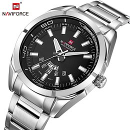 2019 relojes водонепроницаемый NAVIFORCE  Men Watches Business Quartz 30M Waterproof Watches Men's Stainless Steel Band Auto Date Wristwatches Relojes скидка relojes водонепроницаемый