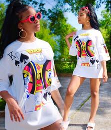 2019 imagens de sexy Mulheres Vestidos Soltos O Pescoço de Poker Imagem Digital Impresso Vestidos Lady Living Clothing Sexy Vestidos Coloridos Frete Grátis imagens de sexy barato