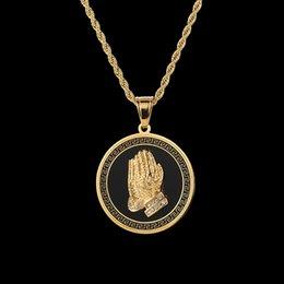buddha halskette Rabatt Beliebte Trandy HIPHOP Rapper Rocker Schmuck Edelstahl Runde Tags Buddha Hand Anhänger Halskette Herren Hip-Hop zubehör Gold Silber
