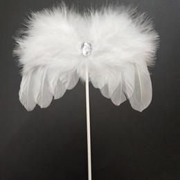 Pasteles de boda de plumas online-Herramientas de pastel de hornear-Angel Feather Wing Cake Toppers Baby Shower Cake Decoraciones para cumpleaños Favor de fiesta de boda