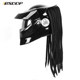 Moto casco flip up online-Casco moto Predator in fibra di vetro Full Face Iron Warrior Uomo unico ed elegante casco apribile moto con faretto a LED