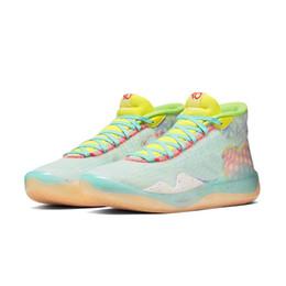 Мужские, что КД 12 баскетбольная обувь цветочные MVP неоновый желтый Пасхи Рождество Леброн 16 Кевин Дюрант высокий крой кроссовки теннис с размером коробки от