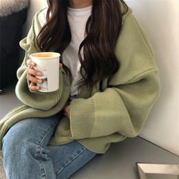 Jaqueta tamanho grande mulheres coreanas on-line-2018 Novo Outono Inverno Coreano Da Menina Caxemira Camisola Com Capuz Zíperes Solto Grande Tamanho Cardigan Grosso Roupas Mulheres Casaco Y190823