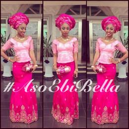 robes nigériennes tapis rouge Promotion 2019 aso ebi style arabe robes de soirée nigériennes avec appliques de dentelle manches demi longues robes de bal robes de soirée tapis rose chaud