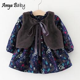2019 vestidos de cumpleaños niña invierno Amya Baby Autumn Winter Plus Velvet Baby Girl Dress Ropa de Navidad para bebés Primer cumpleaños Vestidos para niñas Princess Party Wear vestidos de cumpleaños niña invierno baratos
