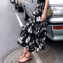 2019 mode estivale Motif floral art vintage Une pièce de style de vacances Français rétro taille haute slim jupe en mousseline de soie jupe ? partir de fabricateur