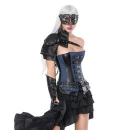 corset bouclé gothique Promotion Steampunk Gothique Bleu Denim Manquer Cuir Boucle Overbust Sexy Bustier Corset Mujer Rock Punk Taille Formateur Korsett Pour Les Femmes