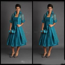 giacca reale vestito dalla sposa della madre Sconti Elegante A Line Plus Size Corto Abiti per la madre della sposa 2019 Giacca Lunghezza verde acqua Abiti Abiti da sera Organza economica
