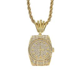 Пластина материала онлайн-18 К Позолоченные Алмазные Карманные Часы Ожерелье Медь Материал Полный Камень CZ Мужская Хип-Хоп Ювелирный Подарок