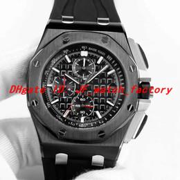 Argentina Alta calidad reloj para hombre relógio de luxo esfera negra Caja de acero Movimiento de cuarzo VK Correa de caucho Regalo para hombre 44 mm reloj de relojes Suministro