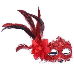 leather mask woman Coupons - Fashion Premium Leather Feather Mask Masquerade Parties Halloween Christmas Parties Carnival Masks Dress Costume Lady Gifts Party Masks