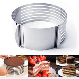 cake layer cutter Promo Codes - Adjustable Stainless Steel Layer Cake Slicer DIY Cutter Kit Mousse Mould Slicing Accessories Cake Circular Baking Tool 7 Layers JK1911