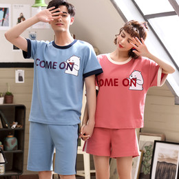 Schlaf- Und Hauskleidung Für Herren Sommer Paare Nachtwäsche Frauen Pyjamas Pijama Hombre Masculino Niedlichen Cartoon Baumwolle Pyjamas Pyjama-sets Herren Pyjamas Homewear