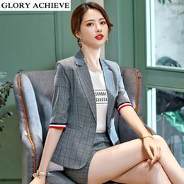 59bda55eeff85 Single Button Office Lady Plus Size OL Classical Plaid Half Sleeve with  striped Female Women Blazer Jacket Gray Blue S-XXXXL
