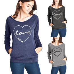 fbd436d7497320 Damen Love T-Shirt Leichter Raglan Langarm Lässige Lose Tunika Tops Hemd  Lässige Blusen mit Taschen (S-XL) WQ035