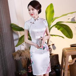 Vestidos de noche clásicos de china online-Más el tamaño 3XL 4XL 5XL 6XL raso Mujer qipao chino del vintage del vestido de noche Vestidos Collar del mandarín clásico Flor cheongsam