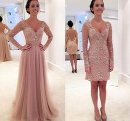 prom dress sequin appliques sleeve long Promo Codes - Pearl Pink Two Pieces V Neck Sheath Mother Dresses Appliques Sequins Short Mini Detachable Skirt Fashion Cocktail Prom Evening Gowns cheap