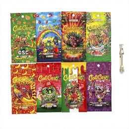 Più nuovo calicarts vuoti sacchetto confezione della cartuccia vape arcobaleno chiusura lampo 1 grammo cali carrelli imballaggio al dettaglio e accessori sigarette da