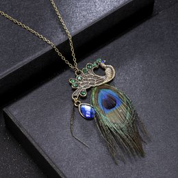 Lightrain Peacock Feather Ethnic Style Pendant Necklace Vintage Bronze Chain Statement Necklace Handmade Jewelry Gifts