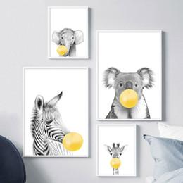 cópias da arte do girafa Desconto Posters Giraffe Zebra e pintura Prints Canvas Art bolha amarelo animal Nordic Nursery Wall Art Pictures for Living Room Decor