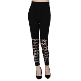 Pierna de perla negra online-2019 nuevas mujeres moda perla embellecida negro ahuecado Legging señoras elásticas ajustadas Slim Fit lápiz pantalones Fitness Casual Pant