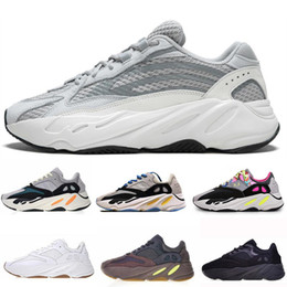 spring winter sneakers Coupons - Kanye West 700 Wave Runner Running Shoes For Mens Womens 700s V2 Static Sports Sneakers Mauve Solid Grey Luxury Designer Shoes Size 36-46