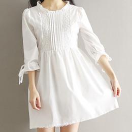 2019 vestidos de casamento coreano doce Doce menina japonesa lace dress verão branco dress festa de aniversário presente de casamento grupo de presente de formatura 2019 coreano 5.24 vestidos de casamento coreano doce barato